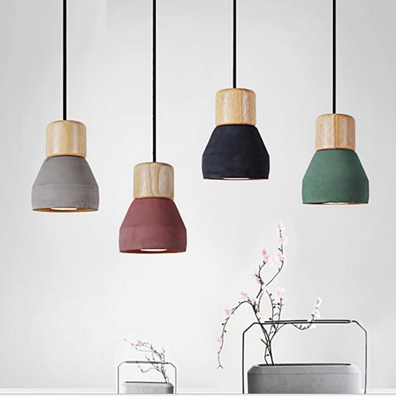 LukLoy Pendant Lights, Modern Fashion Ceiling Pendant Lamp Home Lighting Fixture, Wood Cement Lampshade for Kitchen Dining Room<br>