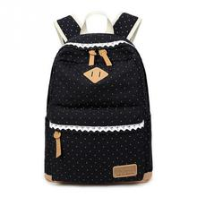 New Girl Folk Style Canvas School Bag Travel Leisure Backpack Women Shoulder Rucksack with Fancy Lace School Bags For Teenagers(China)