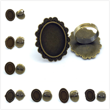 18*25mm 5pcs Ring Base Antique Bronze Plated Adjustable Oval Glass Cabochon Blank Setting Supplies for Jewelry(China)