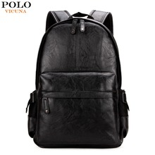 VICUNA POLO Preppy Style Solid College Student Backpack Casual Men Back Pack High Quality Brand Men Leather Book Bag For School(China)