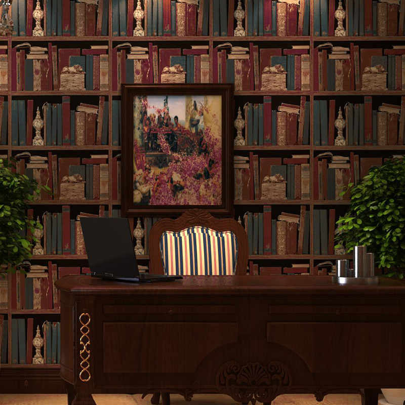 American retro wallpaper pattern bookcase bookshelf stereo England office living room bedroom den backdrop wallpaper<br>