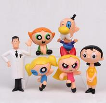 Hot 6-10cm 6pcs/set The Powerpuff Girls PVC Action Figure Blossom Bubbles Buttercup Model Dolls Toys Kids Christmas Gift