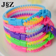 10 pcs/lot Rainbow Color Zipper Bracelet Fluorescent Levels Chain Bangle Gifts for Kids Wristband  Ethnic Jewelry Mix Wholesale