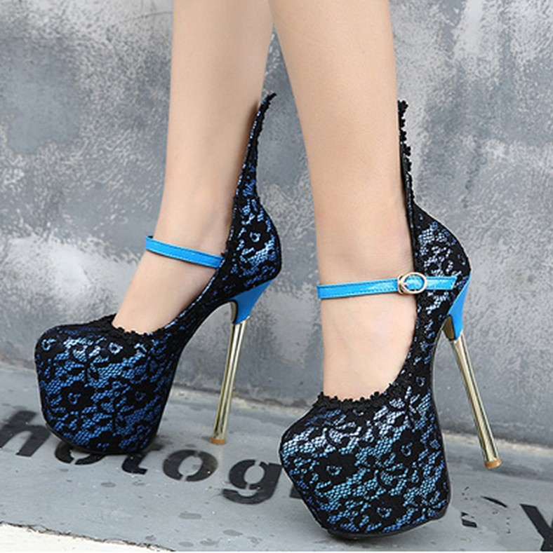 2016 Autumn Womens Pumps 18 CM High Heels Womens Shoes Sexy Thin Heels Buckles Lace Single Shoes Woman Sapatos Femininos C283<br><br>Aliexpress