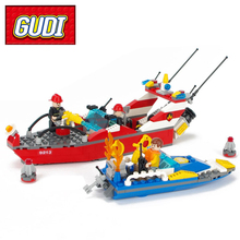 GUDI 9213 315pcs City Fire Fighting Sprinkler Fireboat Speedboat Building Block Kids DIY Brick Toy for Children Christmas Gift(China)