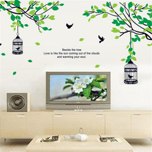 Wall Stickers Tree Home Decor Living Room Accessories Birdcage Posters Decal Art DIY Personality Home Decoration Mural