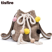 summer canvas Drawstring Bucket Bag new designer wide fringe shoulder strap bag with pompon women messenger bags small purse sac