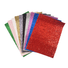 10pieces/pack 22CM*30CM Glitter Fabric Material For Christmas DIY Hair Bow Chunky Glitter Leather Party Wedding Decoration