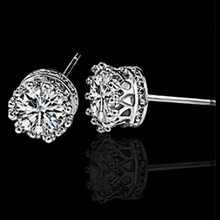 Wholesale crown molding simulated diamonds silver plated stud earrings for woman fashion jewelry gift free shipping(China)