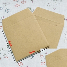 100pcs/lot-8*8cm 120gsm mini size Kraft paper envelope card bank card membership card envelope Wedding Party Invitation(China)
