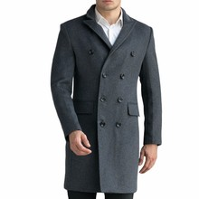 Custom-Made Black Grey Men's Luxury Woolen Coats Fashion Slim Wool Overcoat England Style Autumn Winter Cashmere Peacoat(China)