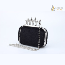 Vintage Women Handbag Metal Clutches Evening Bags Bridal Purse Wedding Party Prom Clutch Hand Bag Horse hair Rivet Knucklebox