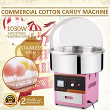 Electric Cotton Candy Machine with Stainless Steel Tray Cotton Candy Maker with Cover for Kids Cotton Commercial Candy Machine(China)