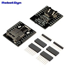 DataLog Shield for WeMos D1 mini, RTC DS1307 with battery + MicroSD, with pin-headers set.