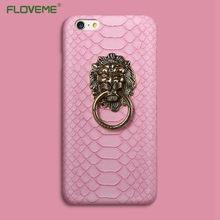 FLOVEME Luxury 3D Lion Head Metal Ring Holder Stand Phone Cases For iPhone 6 6s 4.7 7 Plus 5 5S Hard Kickstand Back Cover Case