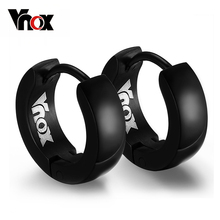 Vnox Cute Hoop Earrings for Women / Men Black color Stainless Steel Party Jewelry