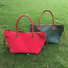 On Sale Wholesale Blanks Xmas Color Canvas Tote Bag Red Green Large Shopping Bag Beautiful Casual Tote Handbag DOM103385