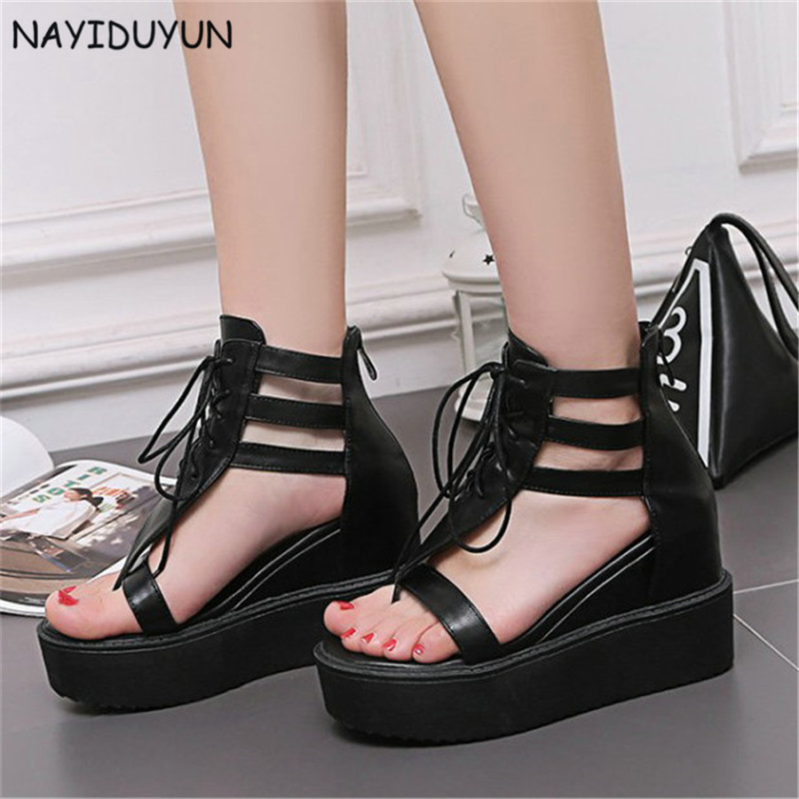 Womens sandals that zip up the back - Nayiduyun Plush Size Womens Lace Up Wedge High Heels Roman Gladiator Thong Sandals Back Zip Party Platform Punk Greepers