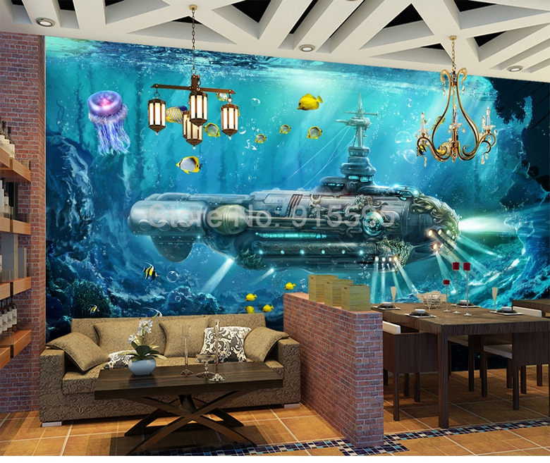 HTB1.8opiAfb uJjSsrbq6z6bVXa0 - Custom 3D Photo Wallpaper Submarine Underwater World Wall Decor Mural Living Room Bedroom Children Room 3D Wall Murals Wallpaper