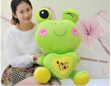 big lovely plush cartoon frogs toy soft cute frog doll with heart about 60cm
