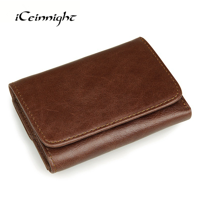 iCeinnight Fashion RFID Credit Card Holder Genuine Leather Wallet Famous Brand Men's Wallet Retro Casual Short Men Coin Purse(China (Mainland))