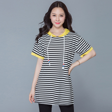 Plus Size 2017 New Summer Casual Hooded Loose Striped Blouse Shirt Yellow Black 1088