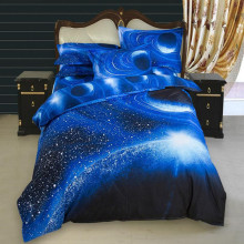 Fantasy Galaxy 3D Printed Bedding Sets Blue Color Modern Bedclothes Sanding Duvet Cover Twin Full Size XF102J5(China)
