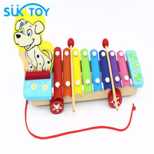 Wooden Xylophone Dog For Infant Playing 8 Scales Toy Educational Soft Montessori children intelligent creative interactive toys