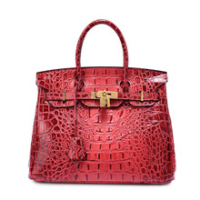 Free Cusotm Logo Private Label Need Minimum platinum packageleather handbag stereo crocodile leather tote bag back bone pattern(China)