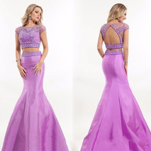 Charming Beaded Mermaid Two Piece Prom Dresses With Sleeves Women Satin Purple/Lavender Prom Dress Long Evening Party Gowns RT80