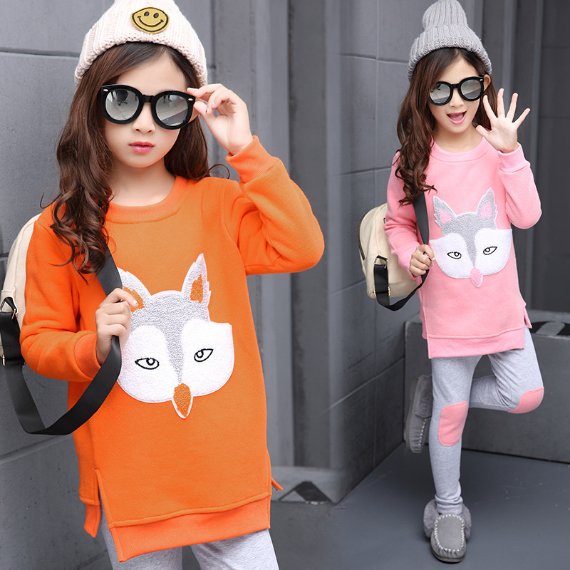 Childrens suit winter and warm girls two pieces sets baby girls clothing set 2-5-9-12 years old kids set pullover pants suit<br><br>Aliexpress