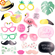 20PCS Flamingo Theme Summer Photo Booth Props Stick Wedding Party Favors/Beach Bachelorette Hen Party Decoration Photobooth