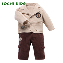 Baby Boys Clothing sets Blazer Single Breasted kids toddle clothes coat + Corduroy pants for enfant garcon boys School suit(China)