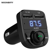 2017 Bluetooth Car Kit FM Transmitter Handfree Car MP3 Audio Player Voltage Detection Noise Cancellation Dual USB Car Charger(China)