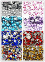 Lucia Crafts Approx 160pcs/lot Mixed Shapes clear sew On Rhinestones Flat Back Crystal Glass Stones Clothes Decoration 003018035