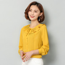 Buy 2017 New Summer Long Sleeve Chiffon Blouse Women Peter Pan Collar Ruffle Blouse Plus Size Women Shirts Blusa Mujer S-3XL for $10.40 in AliExpress store