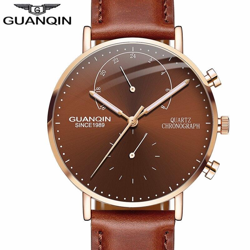 GUANQIN design Leather Band Watches Men Top Brand Relogio Masculino NEW Men Sports Clock  Analog waterproof Quartz Wrist Watches<br>