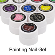 1pcs 3D Glitter 12 Acrylic Colorful Painting UV Gel Polish Nail Art Vernis Semi Permanent Paint Drawn Bio Gel