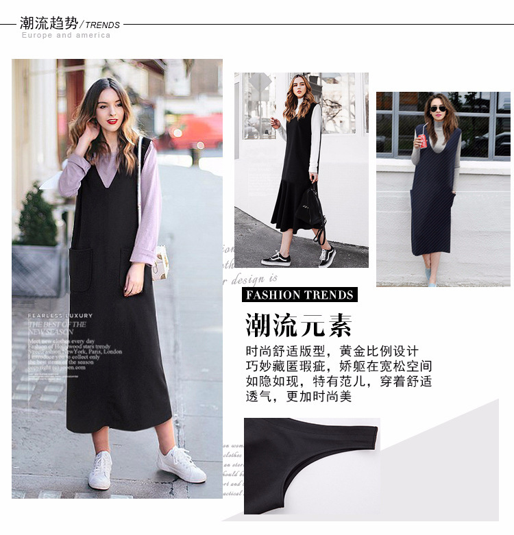 2018 Spring Autumn New Style All Matched Sleeveless Pocket Loose Pinafore  dress Fashion Women Street Snap Plus Size Sundress 000f690075dc