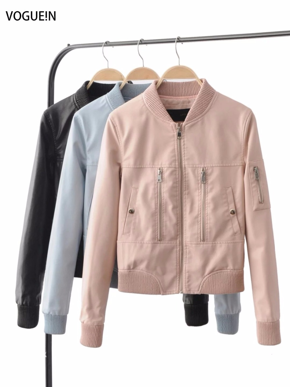 VOGUE!N New Womens Fashion Faux Leather Slim Motorcycle Zipper Jacket Short Coat Outerwear Black/Blue/Pink 3 Colors