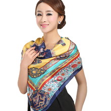 [LESIDA] New Yellow Chinese Dragon Womens Scarfs,100% Silk Satin Shawl,Vintage Fashion  Silk Scarves,Ladies Bandana#DF9032