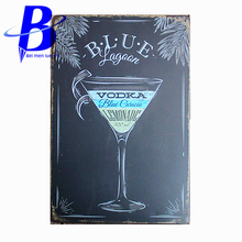 Vintage Home Decor BLUE VODKA  Vintage Metal Tin Signs Retro Tin Plate Sign Wall Decoration for Cafe Bar  Neon Beer Sign Ajax
