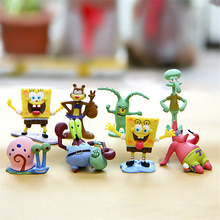 8pcs/lot Lovely Spongebob Squarepants High High Quality Figures Ornament Decoration Moss Terraium Table Deco Toys Baby Accompany