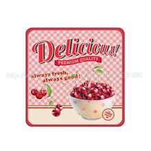 4Pcs/Lot Delicious!Always Fresh,always good!Customized Cute Cherries Pattern Cork Wood Beverage Coaster Table Drink Tea Cup Mat