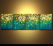 Modern Flower Oil Painting Handmade On Canvas Home Decor Wall Art Abstract Acrylic Floral Paintings Handpainted 4 Panel Pictures