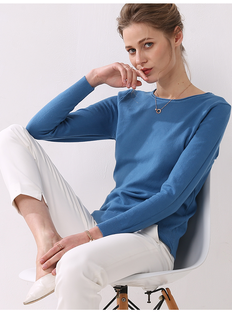 Women knitting sweater long sleeves curled O-neck collar female Short Casual Solid fashion thin pullover Ladies winter sweaters 12