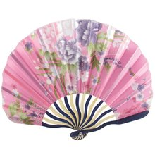 Chinese Japanese Fabric Bamboo Folding Hand Held Fan Pink(China)