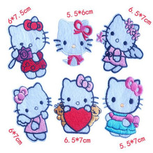 Embroidered iron on patches for clothes Cute Hello Kitty deal with it clothing DIY Motif Applique Free shipping