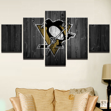 Canvas Wall Art Frame Poster HD Printed Painting For Room Home Decor 5 Panel Ice Hockey Sports Penguins Modular Pictures PENGDA(China)