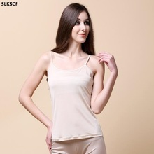 [SLKSCF] 100% Pure Silk Women's Camisoles Female Thin Slim Halter Tanks Tops Femme Simple Sling Women Sexy Camis(China)
